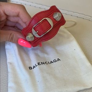 Balenciaga classic metallic edge bracelet (red)